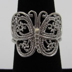 Vintage Size 7 Sterling Rustic Butterfly Band Ring